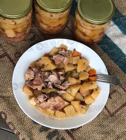 Консервированная «Тушеная картошка со свиной шеей»